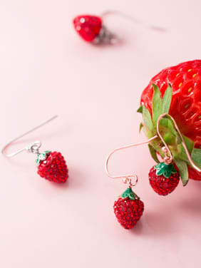 925 Sterling Silver With 18k Rose Gold Plated Cute Strawberry Drop Earrings