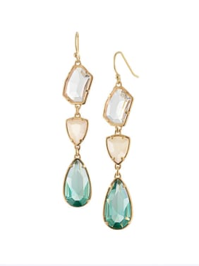 Alloy Fashionable Semi-Precious Stones Crystal Water Drop hook earring
