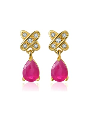 Ruby S925 Silver Women Drop Earrings