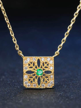 Hollow Square Micro Pave Gold Plated Clavicle Necklace