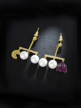 Creative new style bean imitation pearl cartoon micro-inlay  Zircon Earrings