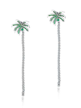 Copper With White Gold Plated Fashion cocoa palm Stud Earrings