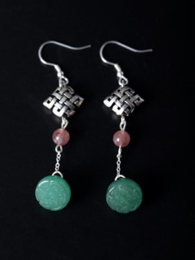 Retro style Natural Jade Little Chinese Knot 925 Silver Earrings