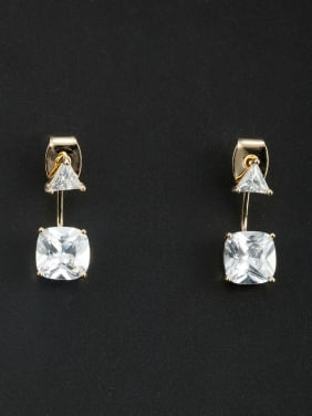 White Square Drop drop Earring with Gold Plated Zircon
