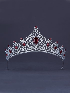 Custom Red Heart Wedding Crown with Platinum Plated