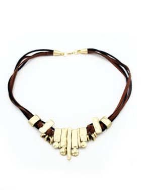 Fashion Gold Plated PU Choker