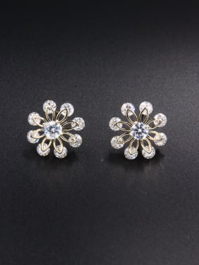 Model No NY37973-002 New design Gold Plated Flower Zircon Studs stud Earring in White color