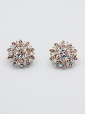 Personalized Gold Plated Multi-Color  Rhinestone Studs stud Earring