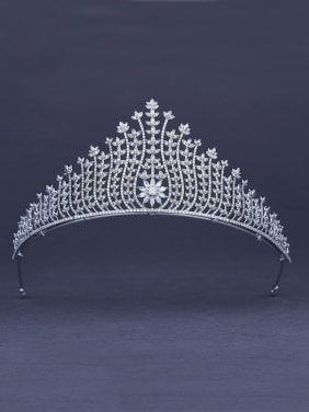 Blacksmith Made Platinum Plated Zircon Wedding Crown