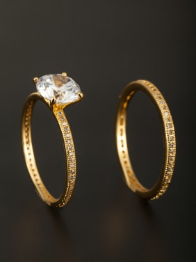 The new Gold Plated Copper Zircon Ring with White  Combination of the ring