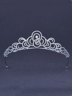 White Wedding Crown with Zircon,Platinum plated