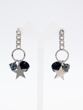 Grey  Youself ! Gold Plated Rhinestone  Drop drop Earring