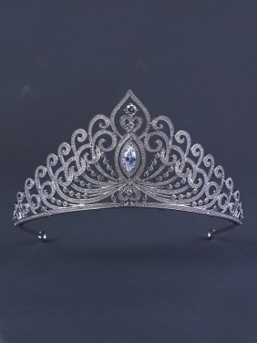 Model No 1000001757 Platinum Plated Stylish Zircon Wedding Crown
