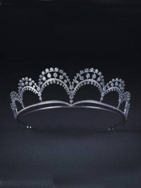 Model No 1000001745 Platinum Plated Zircon White Wedding Crown
