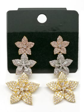 Copper With Mix  Plated Fashion Flower Earrings