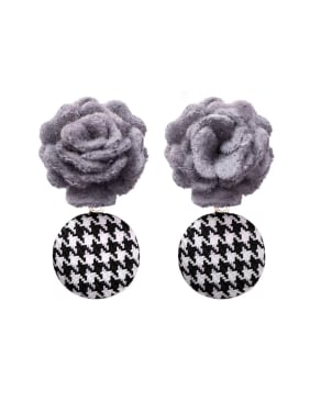 Alloy With Classic Fabric art Flowers Drop Earrings
