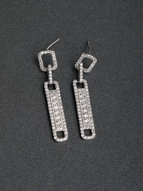 Micro inlay Zircon rectangle 925 silver Drop Earrings
