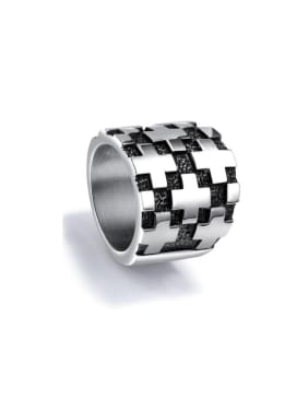 Stainless Steel With White Gold Plated Rock Cross Men Rings