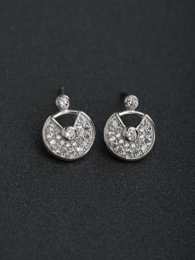 Inlaid Sector Rhinestone  925 silver Stud earrings