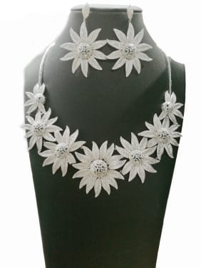 Copper With White Gold Plated Trendy Flower 2 Piece Jewelry Set