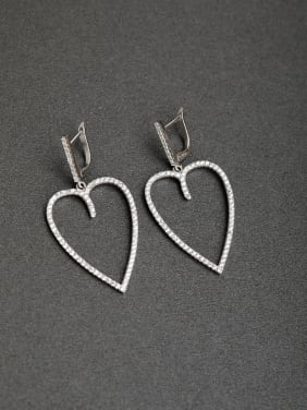 Inlaid Heart of the peach D word buckle  925 Silver Earrings