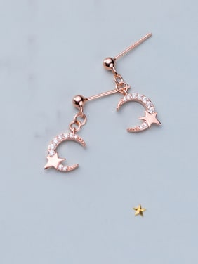 925 Sterling Silver With Cubic Zirconia Delicate Moon Drop Earrings