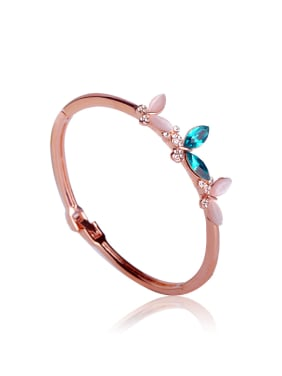 Simple semi-precious stones butterfly Bangle