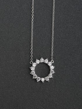 Micro inlay Zircon bling bling sunflower 925 Silver Necklace