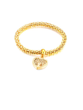 Stainless Steel With Gold Plated Personality Hollow  Heart Chain Bracelets