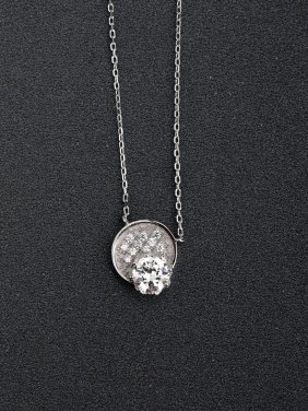 Micro inlay Zircon round bling bling 925 Silver Necklaces