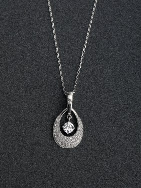 Micro inlay Zircon Droplet type 925 Silver Necklaces