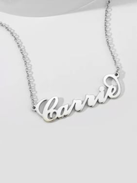 "Customize 925 Sterling Silver White gold plated ""Carrie"" Style Name Necklace"