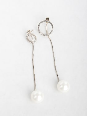 Simple round Imitation pearls Copper inlaid platinum Drop Earrings