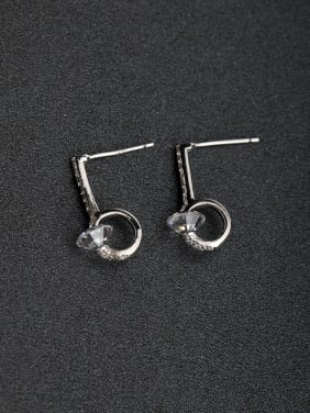 Simple fashion  Glossy face  925 silver Stud earrings