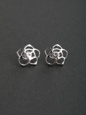 Glossy flowers Simple classic 925 silver Stud earrings