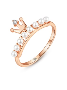925 Sterling Silver With Artificial Pearl Simplistic Crown Band Rings