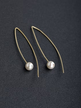 Minimalist lines Imitation pearls 925 silver Threader Earrings