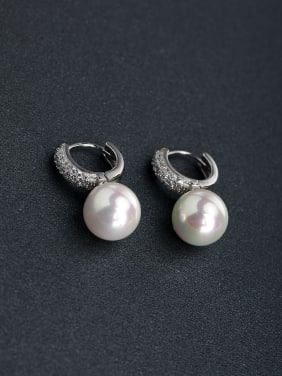 Micro inlay zircon Imitation pearls 925 silver Stud earrings