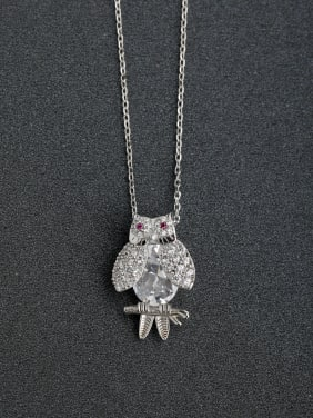 Micro inlay Zircon owl  925 Silver Necklaces