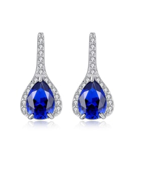 925 Sterling Silver With Platinum Plated Delicate Water Drop Drop Earrings