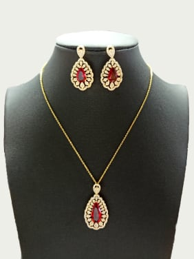 Copper With Gold Plated Trendy Water Drop Jewelry Sets