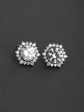 Glittering zircon Sun flower 925 silver Stud earrings
