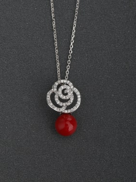 Micro inlay Zircon Fashion flower red beads 925 Silver Necklaces