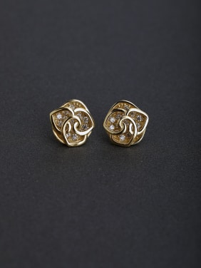 Micro inlay Zircon Rosary 925 silver Stud earrings
