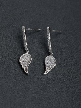 Elegant Micro inlay Zircon Angel Wings 925 silver Stud earrings