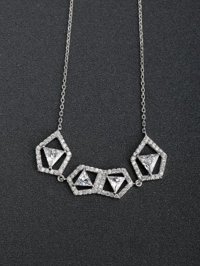 Polygonal zircon  925 Silver Necklaces