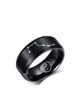 Stainless Steel With Gun Plated Punk Star Band Rings