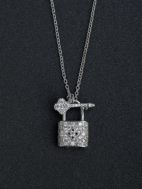 Micro inlay Zircon bling bling key and locket 925 Silver Necklaces