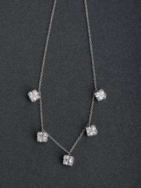 Micro inlay Zircon Beaded Three-dimensional zircon 925 Silver Necklaces