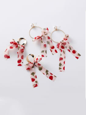 Alloy With Imitation Gold Plated Romantic Print Ribbon Bowknot Drop Earrings